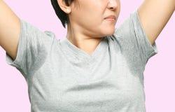 Donna con sudorazione Fotografie Stock