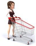 Donna con un carrello di acquisto Fotografia Stock Libera da Diritti