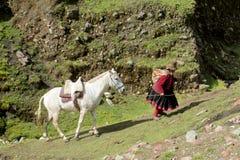 Donna con un cavallo nella campagna nel Perù Immagini Stock