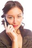 Donna con un cellulare Fotografia Stock Libera da Diritti