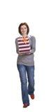 Donna con un contenitore di regalo Immagine Stock