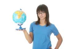Donna con un globo Immagini Stock Libere da Diritti