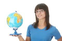 Donna con un globo Fotografia Stock Libera da Diritti