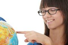 Donna con un globo Fotografie Stock
