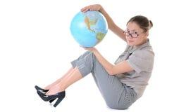 Donna con un globo Fotografia Stock