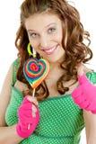 Donna con un lollypop Fotografie Stock Libere da Diritti