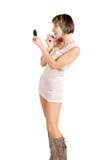 Donna con un lustro della rosa Immagini Stock