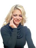 Donna con un mal di denti Fotografie Stock Libere da Diritti