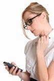 Donna con un pda fotografie stock libere da diritti