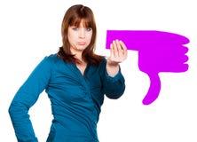 Donna con un pollice Immagini Stock Libere da Diritti