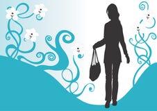 Donna con un sacchetto illustrazione di stock
