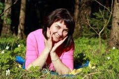 Donna con un sorriso Fotografie Stock Libere da Diritti