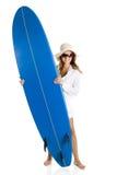 Donna con un surf fotografia stock