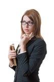 Donna con un taccuino Fotografie Stock