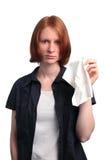 Donna con un tessuto Immagini Stock