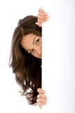 Donna con una bandiera Fotografia Stock