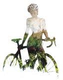 Donna con una bicicletta Fotografia Stock Libera da Diritti