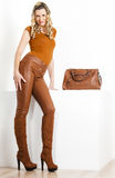 Donna con una borsa Fotografia Stock