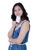 Donna con una carta di credito Fotografia Stock