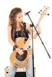 Donna con una chitarra Immagini Stock