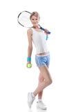 Donna con una racchetta di tennis su bianco Fotografia Stock Libera da Diritti