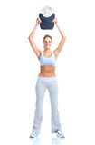 Donna con una scala del peso Fotografia Stock Libera da Diritti