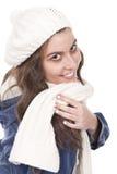 Donna con una sciarpa Fotografia Stock