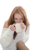 Donna con una tazza. Immagini Stock