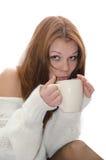 Donna con una tazza. Fotografia Stock
