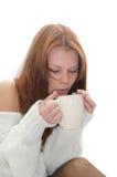 Donna con una tazza. Immagine Stock