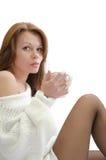 Donna con una tazza. Fotografie Stock Libere da Diritti