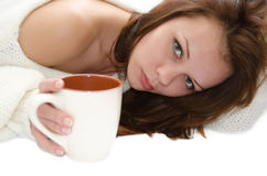 Donna con una tazza. Immagine Stock Libera da Diritti