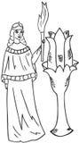 Donna con una torcia Fotografia Stock Libera da Diritti