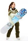 Donna con uno snowboard Immagini Stock Libere da Diritti