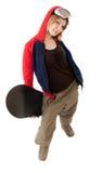 Donna con uno snowboard Immagini Stock
