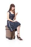 Donna con valise fotografia stock