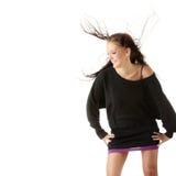 Donna con vento in suoi capelli immagini stock libere da diritti