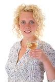 Donna con vetro di vino Immagini Stock