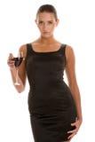 Donna con vino Immagine Stock