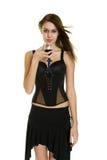 Donna con vino Fotografia Stock Libera da Diritti