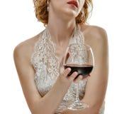Donna con vino rosso Fotografia Stock Libera da Diritti