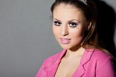 Donna con volto di arte Fotografia Stock