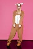 Donna in costume dei cervi Fotografia Stock Libera da Diritti