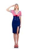 Donna in costume del marinaio Fotografia Stock