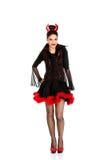 Donna in costume di carnevale del diavolo immagini stock libere da diritti