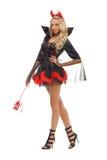 Donna in costume di carnevale. Figura del diavolo immagini stock