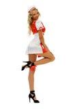 Donna in costume di carnevale. Figura dell'infermiera Fotografia Stock