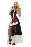 Donna in costume di carnevale. Figura della regina della scheda Fotografie Stock Libere da Diritti