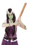 Donna in costume di Frankenstein con il pipistrello Fotografia Stock