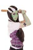 Donna in costume di Frankenstein con il pipistrello Fotografia Stock Libera da Diritti